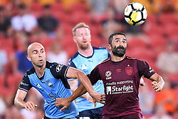 January 8, 2018 - Brisbane, QUEENSLAND, AUSTRALIA - Adrian Mierzejewski of Sydney (11, left) and Fahid Ben Khalfallah of the Roar (14) compete for the ball during the round fifteen Hyundai A-League match between the Brisbane Roar and Sydney FC at Suncorp Stadium on Monday, January 8, 2018 in Brisbane, Australia. (Credit Image: © Albert Perez via ZUMA Wire)