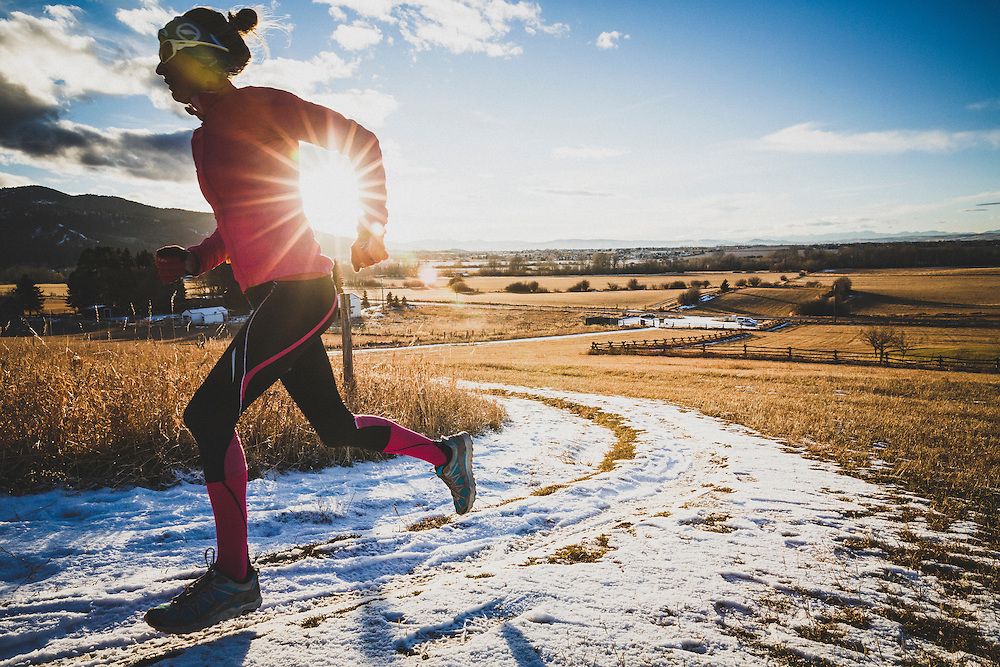 Inge Perkins out for a winter sunet run on the Tripple Tree Trail, Bozeman, Montana.
