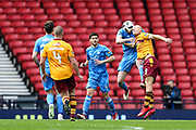 Curtis Main (#9) of Motherwell contests the ball in the air during the William Hill Scottish Cup Semi-Final match between Motherwell and Aberdeen at Hampden Park, Glasgow, United Kingdom on 14 April 2018. Picture by Craig Doyle.