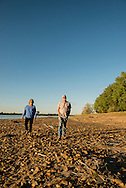 Kevin and Karen Boehler, evening walk on their farm, Yellowstone River, east of Fairview Montana, near its confluence with the Missouri