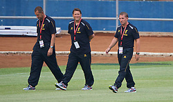 JAKARTA, INDONESIA - Wednesday, July 17, 2013: Liverpool's manager Brendan Rodgers and assistant manager Colin Pascoe take a walk around the Gelora Bung Karno Stadium ahead of their game against Indonesia as part of their Preseason Tour. (Pic by David Rawcliffe/Propaganda)