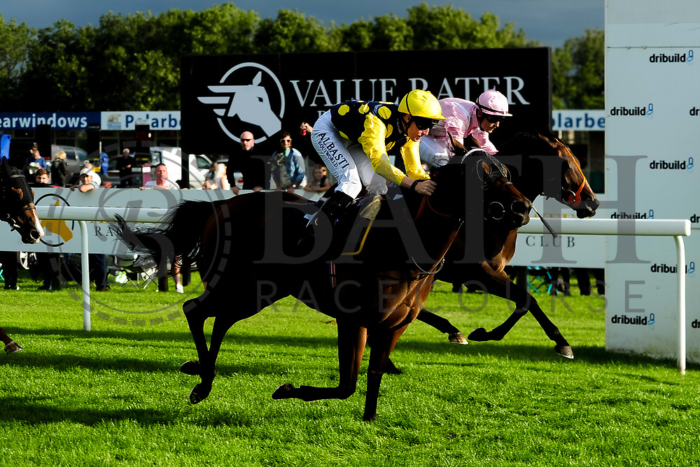 Praxedis ridden by Pat Cosgrove and trained by Robert Cowell in the Kingstone Press Apple Maiden Handicap (Class 6) race. Kellington Kitty ridden by Daniel Muscutt and trained by Mike Murphy in the Kingstone Press Apple Maiden Handicap (Class 6) race.  - Ryan Hiscott/JMP - 17/08/2019 - PR - Bath Racecourse - Bath, England - Race Meeting at Bath Racecourse