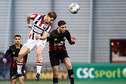 (L-R) Fran Sol of Willem II, Hicham Faik of Excelsior during the Dutch Eredivisie match between sbv Excelsior Rotterdam and Willem II Tilburg at Van Donge & De Roo stadium on April 06, 2018 in Rotterdam, The Netherlands