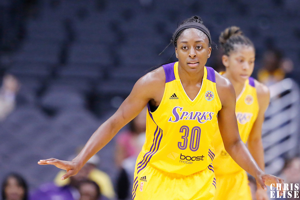 25 May 2014: Los Angeles Sparks forward Nneka Ogwumike (30) is seen on defense during the Los Angeles Sparks 83-62 victory over the San Antonio Stars, at the Staples Center, Los Angeles, California, USA.