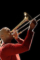 Man Playing Trombone close-up side view