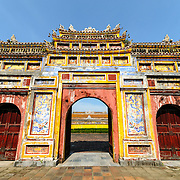 Dien Tho Residence at the Imperial City in Hue, Vietnam. A self-enclosed and fortified palace, the complex includes the Purple Forbidden City, which was the inner sanctum of the imperial household, as well as temples, courtyards, gardens, and other buildings. Much of the Imperial City was damaged or destroyed during the Vietnam War. It is now designated as a UNESCO World Heritage site.