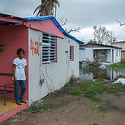"Punta Santiago, PR--Hilda Alicea Gonzalez, left, stands on the front porch of her home in Punta Santiago, PR, November 8, 2017. Ms. Gonzalez received a blue tarp a week earlier, which replaces her roof  which blew off during Hurricane Maria. September 20, 2017. Nearly two months after the storrm, her home has no running water or electricity. The storm brought a surge of water that filled her home with 3 feet of water. Her home continues to be surrounded by stagnant water due to poor drainage and continued rain. The number ""42"" was sprayed painted by a FEMA team, to mark her home once they inspected it. Photo by Lori Waselchuk/BRAF"