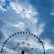 The Ferris Wheel at the State Fair of Texas with a nice, big, blue, cloudy Texas sky.