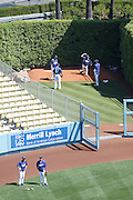 LOS ANGELES, CA - MAY 27:  Los Angeles Dodgers pitchers work in the bullpen before the game against the Houston Astros on Sunday, May 27, 2012 at Dodger Stadium in Los Angeles, California. The Dodgers won the game 5-1. (Photo by Paul Spinelli/MLB Photos via Getty Images)