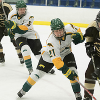 4th year forward Kylee Kupper (21) of the Regina Cougars in action during the Women's Hockey home game on January 7 at Co-operators arena. Credit: Arthur Ward/Arthur Images