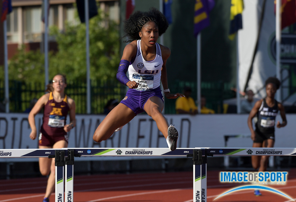 Jun 7, 2018; Eugene, OR, USA; Kymber Payne of LSU wins women's 400m hurdles heat in 56.58 during the NCAA Track and Field championships at Hayward Field.