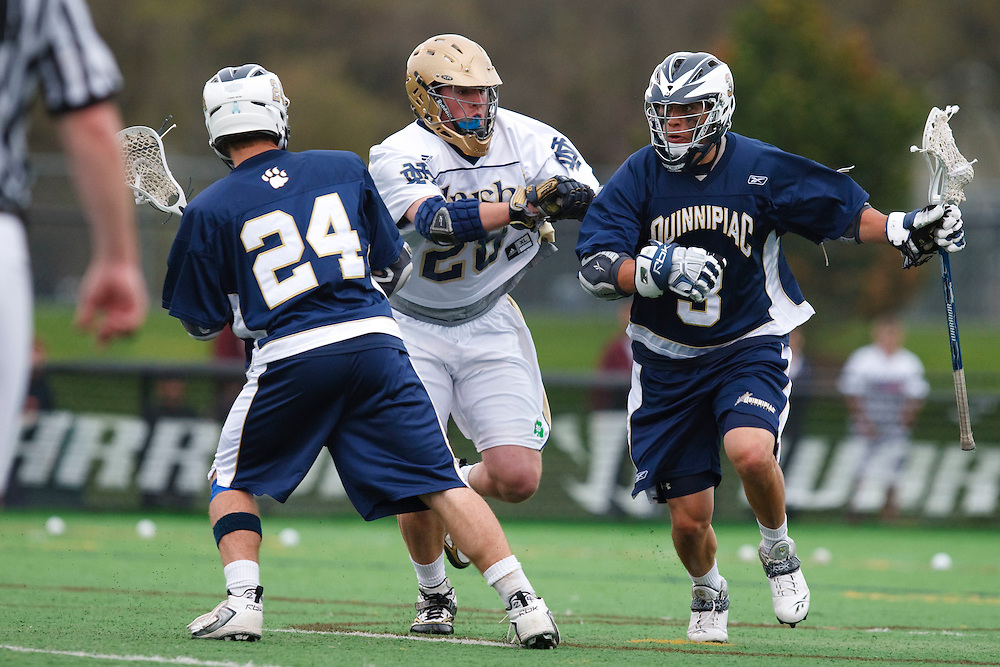 May 1, 2009:    #24 DeAlmeida, Alex of Quinnipiac, #28Zach Brenneman of Notre Dame and #3 Messina, Gary of Quinnipiac in action during the NCAA Lacrosse game between Notre Dame and Quinnipiac at GWLL Tournament in Birmingham, Michigan. (Credit Image: Rick Osentoski/Cal Sport Media)