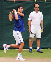 Tennis - 2017 Wimbledon Championships -<br /> Training sessions<br /> <br /> Kei Nishikori [Japan] training in Aorangi Park<br /> <br /> COLORSPORT/ANDREW COWIE