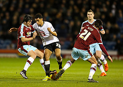 Nick Blackman of Derby County is tackled by Burnley's George Boyd and Joey Barton - Mandatory byline: Matt McNulty/JMP - 25/01/2016 - FOOTBALL - Turf Moor - Burnley, England - Burnley v Derby County - Sky Bet Championship