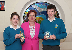 Sancta Maria College Awards 2018<br /> Junior students of the Year Emma Finnegan and Rory Browne Tobia presented by principal Pauline Moran.<br />Pic Conor McKeown