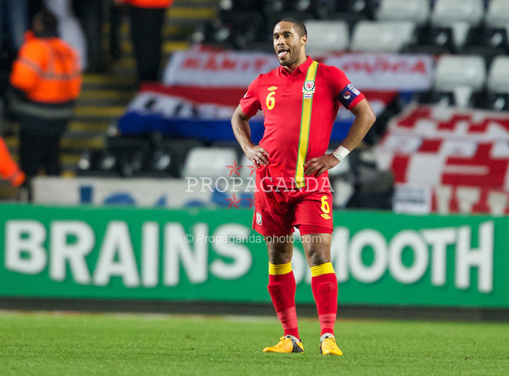 SWANSEA, WALES - Tuesday, March 26, 2013: Wales' Ashley Williams shows a look of dejection during the 2014 FIFA World Cup Brazil Qualifying Group A match against Croatia at the Liberty Stadium. (Pic by Kieran McManus/Propaganda)