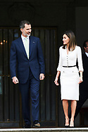 King Felipe VI of Spain, Queen Letizia of Spain attend an official lunch at Zarzuela Palace on May 14, 2018 in Madrid, Spain