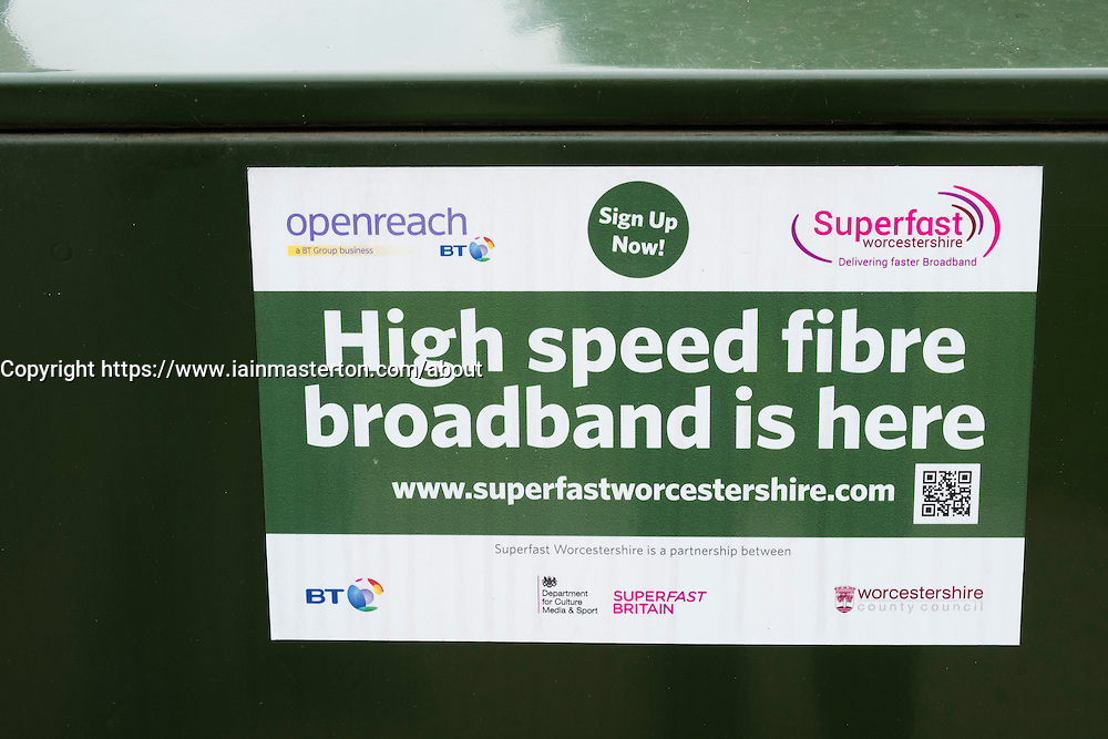 Sign on junction box from BY Openreach high speed broadband service.