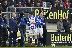 (L-R) Kik Pierie of sc Heerenveen, Lucas Woudenberg of sc Heerenveen during the Dutch Eredivisie match between NAC Breda and sc Heerenveen at the Rat Verlegh stadium on April 29, 2018 in Breda, The Netherlands