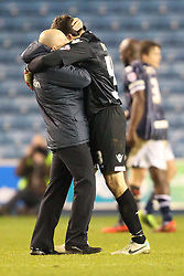 Millwall Manager, Ian Holloway and Stephen Bywater hug at the end of the match - Photo mandatory by-line: Robin White/JMP - Tel: Mobile: 07966 386802 18/01/2014 - SPORT - FOOTBALL - The Den - Millwall - Millwall v Ipswich Town - Sky Bet Championship