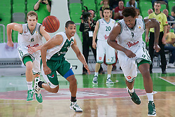 Deon Thompson and Jaka Blazic of Union Olimpija & Mustafa Abdul Hamid of Krka during basketball match between KK Union Olimpija and KK Krka in 4nd Final match of Telemach Slovenian Champion League 2011/12, on May 24, 2012 in Arena Stozice, Ljubljana, Slovenia. Krka defeated Union Olimpija 65-55. (Photo by Grega Valancic / Sportida.com)