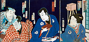 Kabuki Theatre: Triptych c1870 showing two men, left, man with book and prints or photographs, centre, and female character in kimono with camera in background. Ochiai Yoshiiku (1833-1904) Japanese artist.