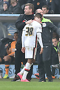 Milton Keynes Dons forward, on loan from Bolton Wanderers, Rob Hall(38) comes off getting pat on back from Milton Keynes Dons Manager Karl Robinson  during the Sky Bet Championship match between Hull City and Milton Keynes Dons at the KC Stadium, Kingston upon Hull, England on 12 March 2016. Photo by Ian Lyall.