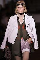 Julia Nobis walks the runway wearing Rag & Bone collection during Mercedes-Benz Fasion Week in New York on September 9, 2011