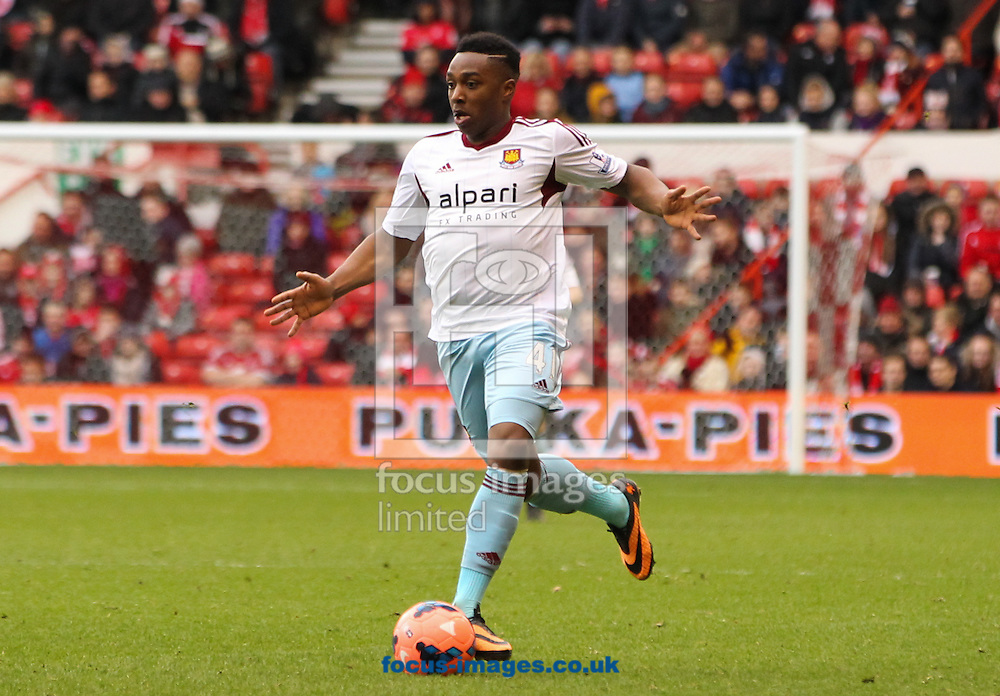 Picture by Tom Smith/Focus Images Ltd 07545141164<br /> 05/01/2014<br /> Jaanai Gordon of West Ham United in possession of the ball during the The FA Cup match at the City Ground, Nottingham.