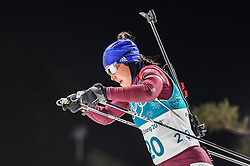 February 12, 2018 - Pyeongchang, Gangwon, South Korea - Tatiana Akimova of New Zealand competing at Women's 10km Pursuit, Biathlon, at olympics at Alpensia biathlon stadium, Pyeongchang, South Korea. on February 12, 2018. (Credit Image: © Ulrik Pedersen/NurPhoto via ZUMA Press)