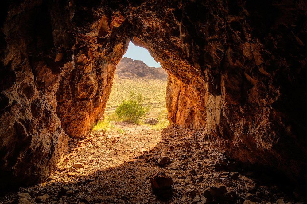 A photograph from within a cave in Southern Nevada while hunting unsuccessfully for vinegaroons while climbing the cliffs in the area. I just arrived in time for perfect light!