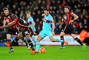 West Ham Utd defender James Tomkins during the Barclays Premier League match between Bournemouth and West Ham United at the Goldsands Stadium, Bournemouth, England on 12 January 2016. Photo by Graham Hunt.