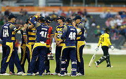 Glamorgan celebrate Graham Wagg of Glamorgan after he takes the wicket of Chris Dent of Gloucestershire - Mandatory by-line: Robbie Stephenson/JMP - 10/06/2016 - CRICKET - Brightside Ground - Bristol, United Kingdom - Gloucestershire v Glamorgan - NatWest T20 Blast