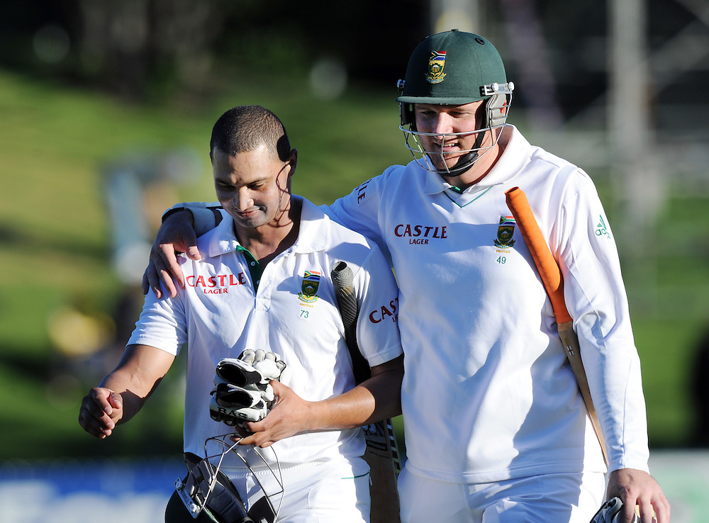 South Africa's Alviro Petersen, left and Graeme Smith walk off at the end of play against New Zealand on the fourth day of the third International Cricket Test, Basin Reserve, Wellington, New Zealand, Monday, March 26, 2012. Credit:SNPA / Ross Setford