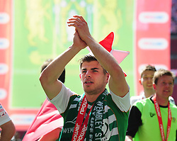 Yeovil Town's Joe Edwards celebrates Yeovil Town's promotion into the Npower Championship after winning the League 1 Play-Off Final - Photo mandatory by-line: Dougie Allward/JMP - Tel: Mobile: 07966 386802 19/05/2013 - SPORT - FOOTBALL - LEAGUE 1 - PLAY OFF - FINAL - Wembley Stadium - London - Brentford V Yeovil Town