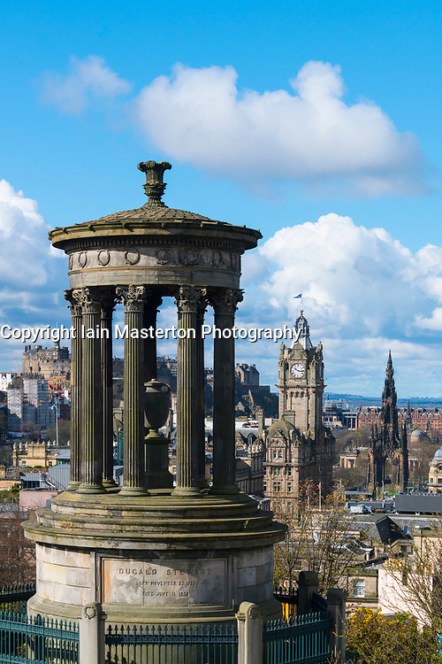 View of Dugald Stewart monument and skyline from Calton Hill in Edinburgh, Scotland