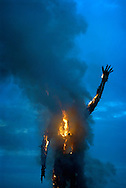 UK, Margate. The completion and burning of Antony Gormley's Waste Man as part of the Exodus Festival and 'Exodus Day' film in Margate in Kent. 'Exodus Day' is a film commissioned and produced by Art Angle and written and directed by Penny Woolcock..Photo shows the burning of the Waste Man..