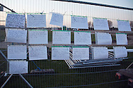 Protest about the giant Olympic basketball training hall due to be built at Hackney Marshes, London 2012