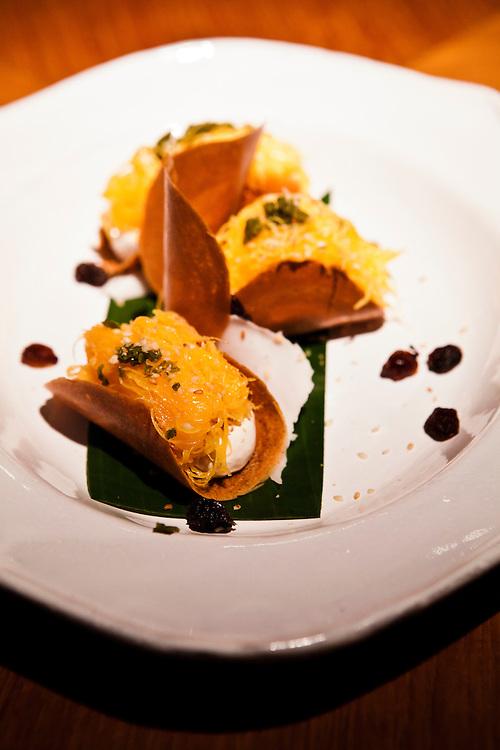 "Dessert of Thai ""waffle"" with golden egg noodle. Nahm restaurant at The Metropolitan hotel."