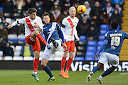 Charlton Athletic midfielder Johann Berg Gudmundsson and Birmingham City defender Jonathan Grounds attempt to win the ball during Birmingham City and Charlton Athletic at St Andrews, Birmingham, England on 21 November 2015. Photo by Alan Franklin.
