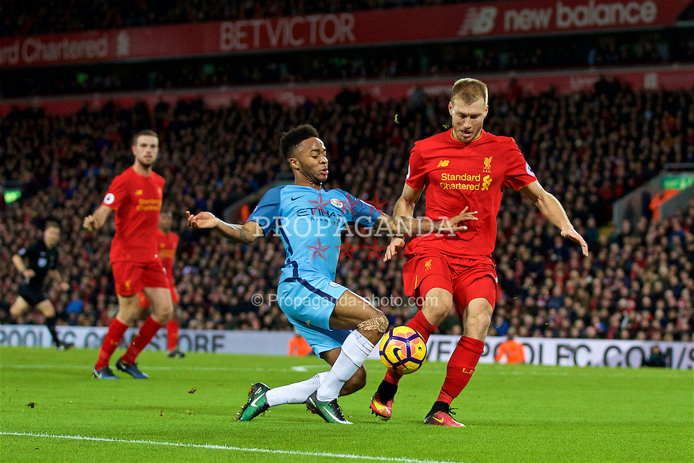 LIVERPOOL, ENGLAND - Saturday, December 31, 2016: Liverpool's Ragnar Klavan in action against Manchester City's Raheem Sterling during the FA Premier League match at Anfield. (Pic by David Rawcliffe/Propaganda)