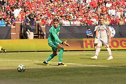 July 28, 2018 - Ann Arbor, MI, U.S. - ANN ARBOR, MI - JULY 28: Manchester United Keeper Joel Pereira (40) turns a watches a shot from Liverpool Forward Daniel Sturridge (15) (Not shown) goes by during the ICC soccer match between Manchester United FC and Liverpool FC on July 28, 2018 at Michigan Stadium in Ann Arbor, MI (Photo by Allan Dranberg/Icon Sportswire) (Credit Image: © Allan Dranberg/Icon SMI via ZUMA Press)