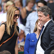 LONDON, ENGLAND - JULY 16: Anna Eberstein and Hugh Grant at the Mens Singles Final between Roger Federer of Switzerland and Marin Cilic of Croatia during the Wimbledon Lawn Tennis Championships at the All England Lawn Tennis and Croquet Club at Wimbledon on July 16, 2017 in London, England. (Photo by Tim Clayton/Corbis via Getty Images)