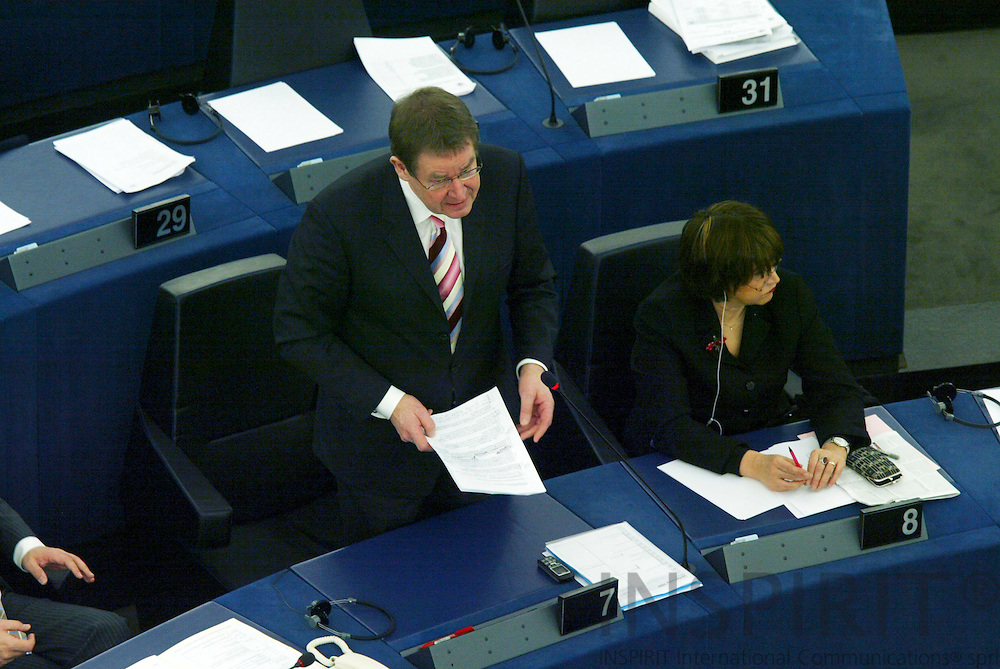 STRASBOURG - FRANCE - 15 FEBRUARY 2006 -- MEP Poul Nyrup RASMUSSEN addressing the his fellow MEP's and sitting nest to him Pasqualina NAPOLETANO, both are from the Socialist Group in the European Parliament. PHOTO: ERIK LUNTANG /