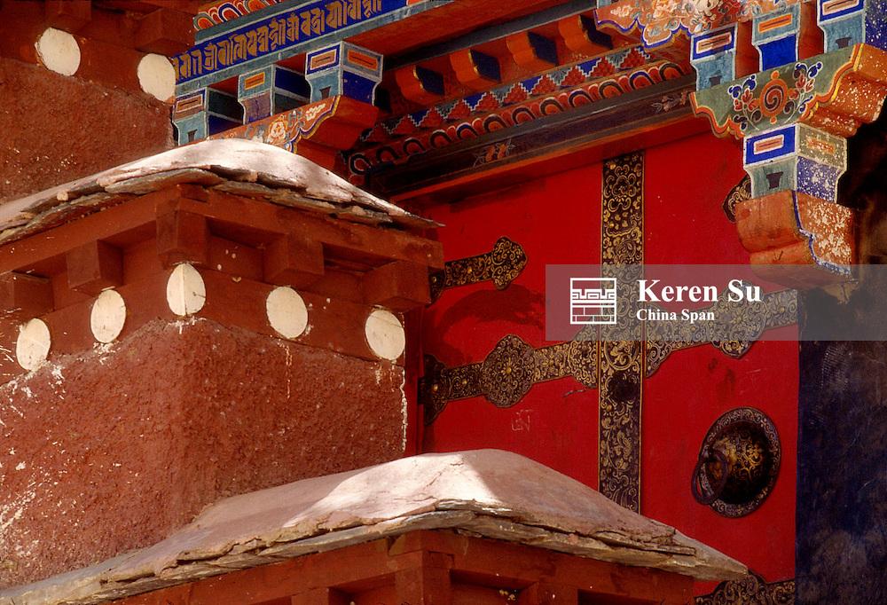 Architectural details at Drepung Monastery, Lhasa, Tibet, China