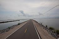 Island Road connecting Isle de jean and Pointe au Chien Louisiana