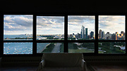 A southern view of Lake Michigan and Chicago from an empty condo.