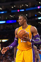 30 October 2012: Center (12) Dwight Howard of the Los Angeles Lakers reacts after being called for a foul while playing against the Dallas Mavericks during the second half of the Mavericks 99-91 victory over the Lakers at the STAPLES Center in Los Angeles, CA.