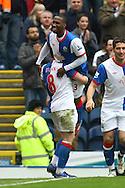 Picture by Paul Chesterton/Focus Images Ltd.  07904 640267.21/04/12.Junior Hoilett of Blackburn scores his sides 2nd goal and celebrates during the Barclays Premier League match at Ewood Park Stadium, Blackburn