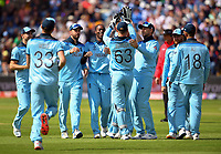 Cricket - 2019 ICC Cricket World Cup - Group Stage: England vs. Sri Lanka<br /> <br /> England's Jofra Archer celebrates taking the wicket of Sri Lanka's Dimuth Karunaratne caught by England's Jos Buttler for 1, at Headingley, Leeds<br /> <br /> COLORSPORT/ASHLEY WESTERN